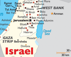 Israel West Bank map detail